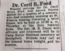 Dr. Cecil Bruce Ford funeral announcement (short)
