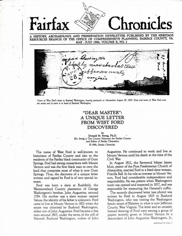 Article, Fairfax Chronicles