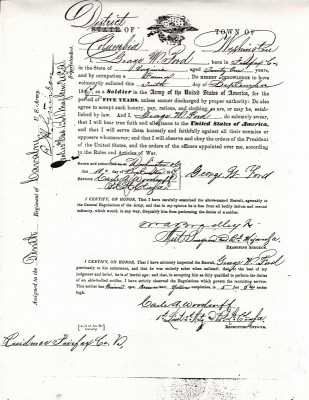 Enlistment Document 10th Calvary