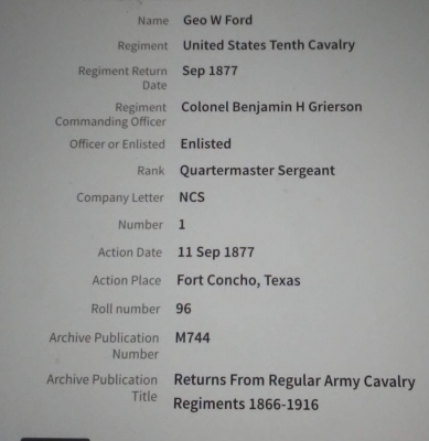 Major Ford's Enlistment Info.