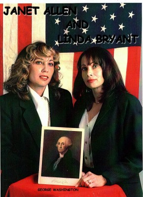Sisters posing with photo of George Washington
